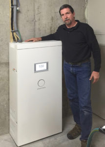 Bill Laberge with sonnen back-up storage recently installed