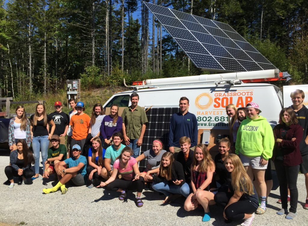 Showing Burr and Burton Academy students about solar power.