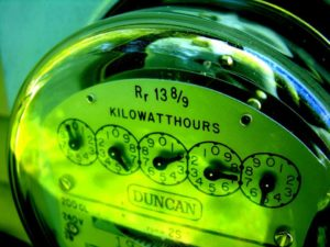 electricity meter showing gauges for Kilowatt hours